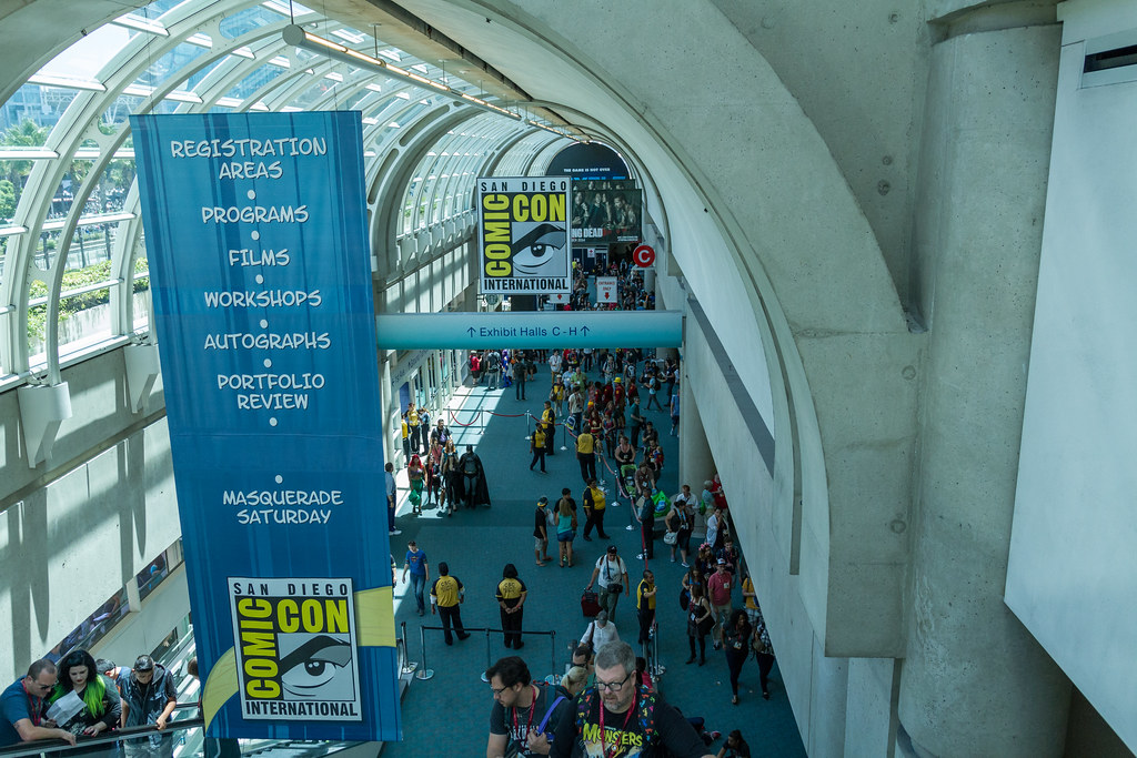Outside the convention floor going up to the second floor SDCC 2014
