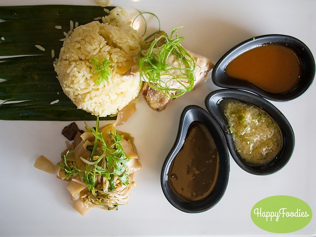 Hainanese Chicken Rice, Hainanese Chicken, Kuey Teow with red garlic, ginger and kecap manis sauces