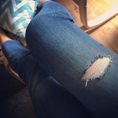 The pre-distressed perfectly placed rip in my @Gap #jeans just keeps getting bigger. Soon it will be big enough to be a portal to another dimension. Ok, not really.