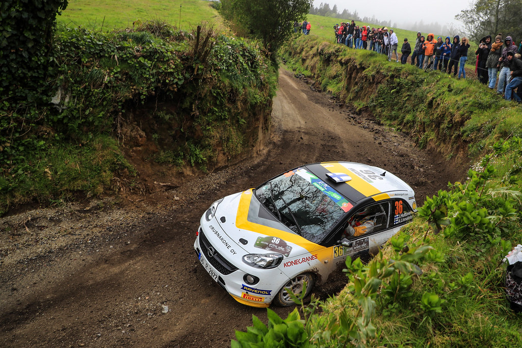 36 HUTTUNEN Jari  LINNAKETO Antti Opel Adam R2 Action during the 2017 European Rally Championship ERC Azores rally,  from March 30  to April 1, at Ponta Delgada Portugal - Photo Jorge Cunha / DPPI