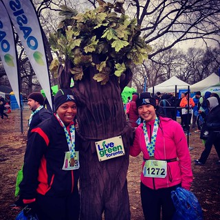 Arlene and Mei with a person in a tree costume.