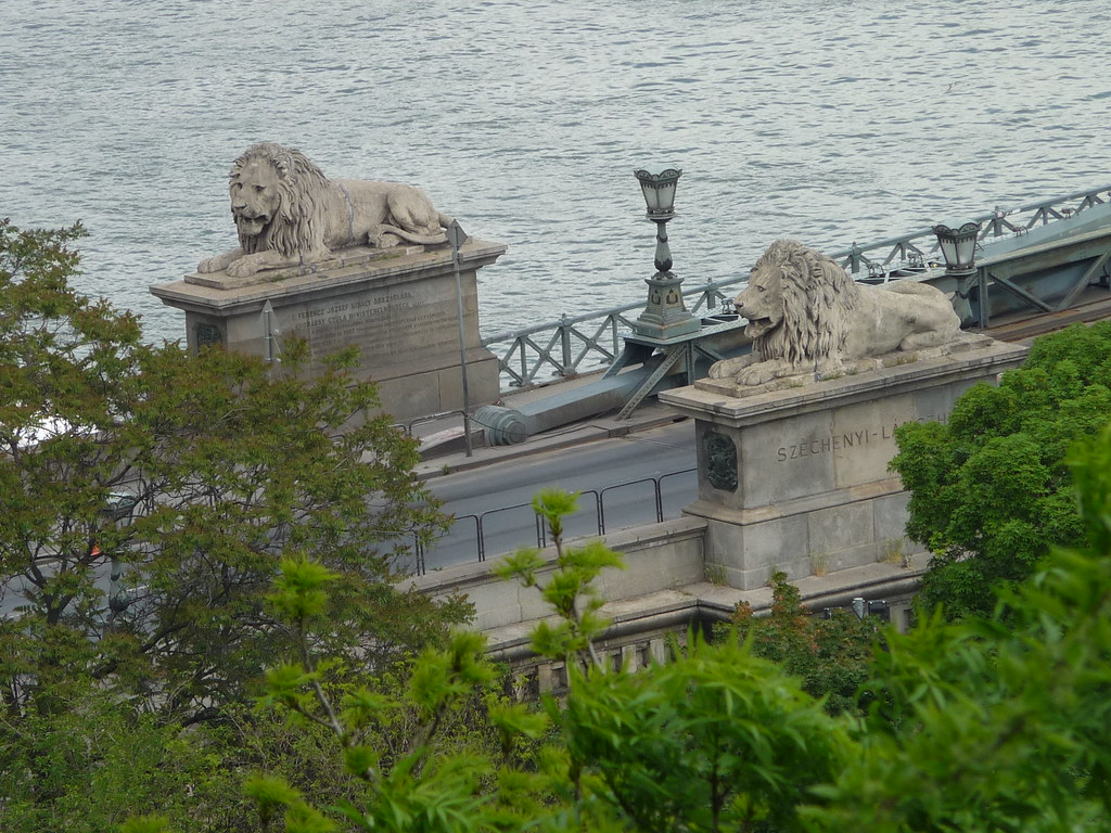 Lions at Széchenyi Chain Bridge, Budapest