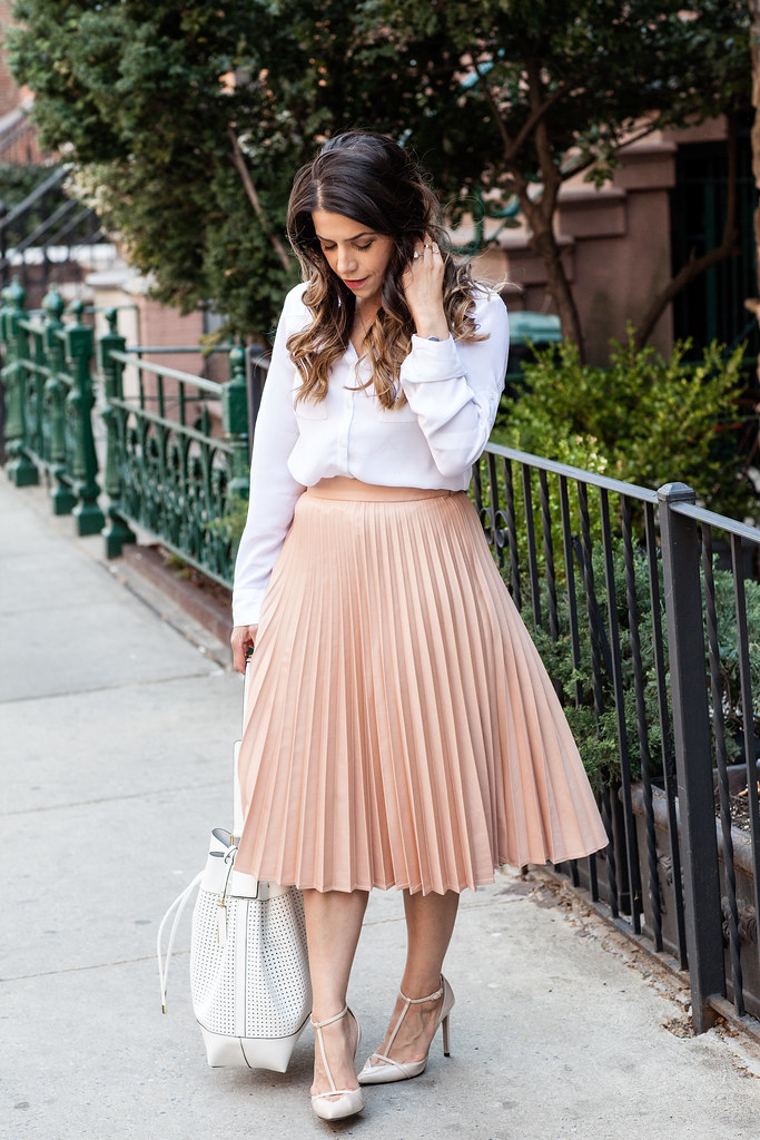 a_midi skirt white shirt zara outfit jcrew necklace workwear fashion blogger zara heels bucket bag white bag professional work outfit