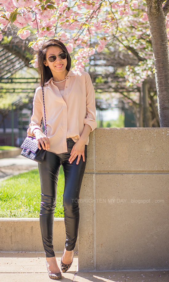 nude blouse, pearl necklace, faux leather pants, leopard pumps