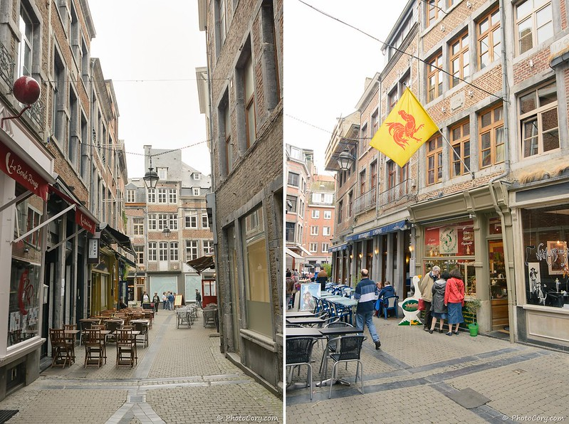 narrow streets and cafes in Namur, Belgium