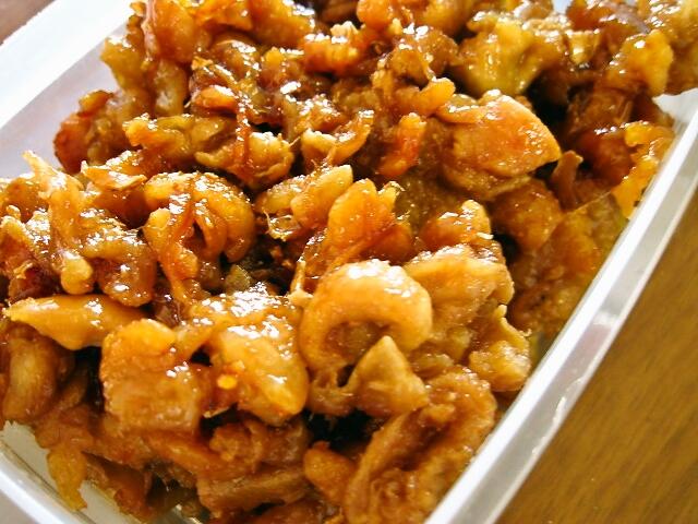 鶏皮の甘辛生姜焼き