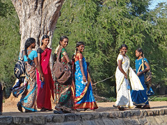 Groupe de visiteuses du temple d'Airavateshwara (Darasuram, Inde)