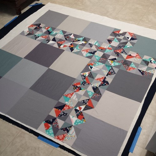 Third basted quilt this long weekend.  Yep I'm whooped.