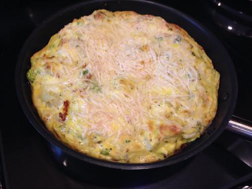 Potato, brocolli, cauliflower frittata with pecorino cheese