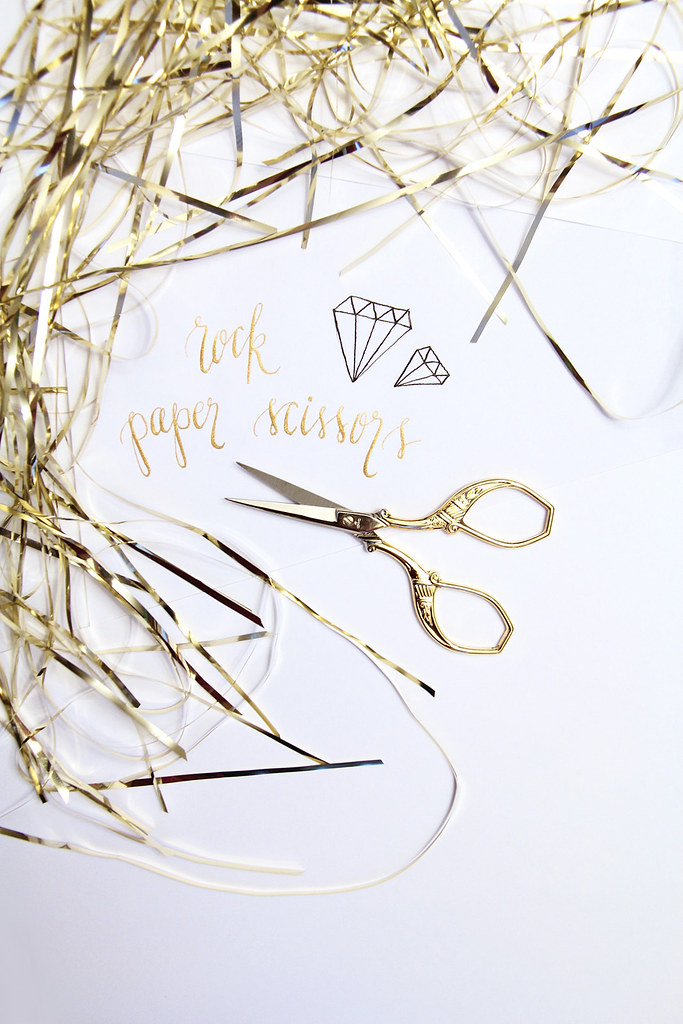rock paper scissors, dr. ph. martin's copperplate gold, gold scissors, gold tinsel, how to style a vingnette, calligraphy