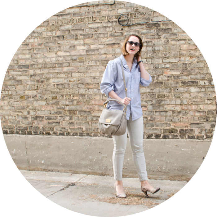 STRIPES+GRAY, casual office wear, light neutrals, thrifted men's shirts, jeans with heels, light gray old navy jeans