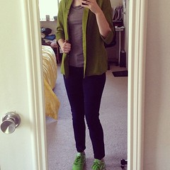5/21 #mmmay14 @byhandlondon Victoria Blazer with matching green @reebok classic sneakers #sewing #matchymatchy
