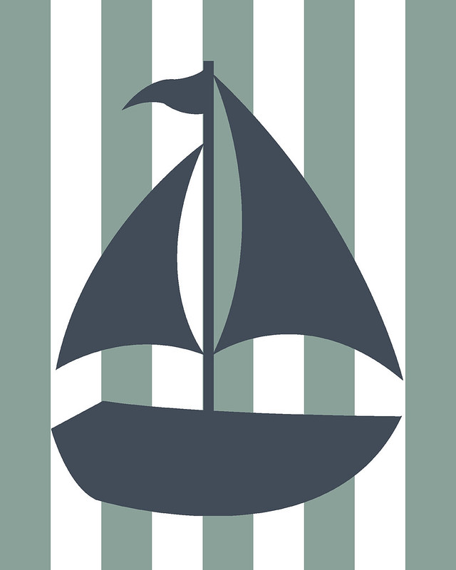 sailboat, wall art, nursery