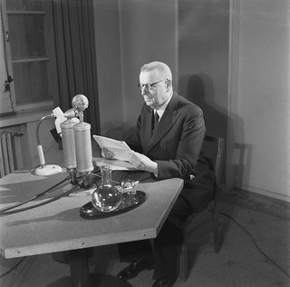 President Juho Kusti Paasikivi speaking on the radio, 1949.