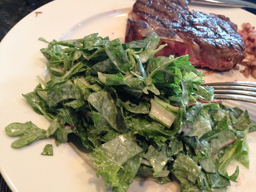 IMG_2668 Big green salad and organic fresh meat. Builds muscle.
