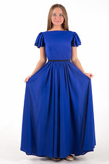 child(0.0), bridal clothing(0.0), purple(0.0), aqua(0.0), cocktail dress(0.0), bridesmaid(0.0), prom(0.0), bridal party dress(1.0), day dress(1.0), neck(1.0), gown(1.0), clothing(1.0), sleeve(1.0), cobalt blue(1.0), azure(1.0), woman(1.0), electric blue(1.0), blue(1.0), dress(1.0),