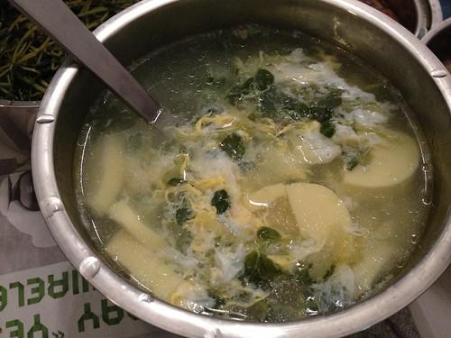 snow pea shoots and tofu soup