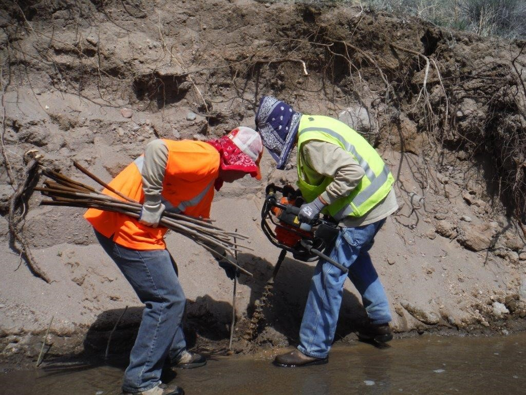 Workers plant willows along the stream banks to dissipate storm water runoff and stabilize the wetland, which serves as a stabilization system for sediment and contaminants.