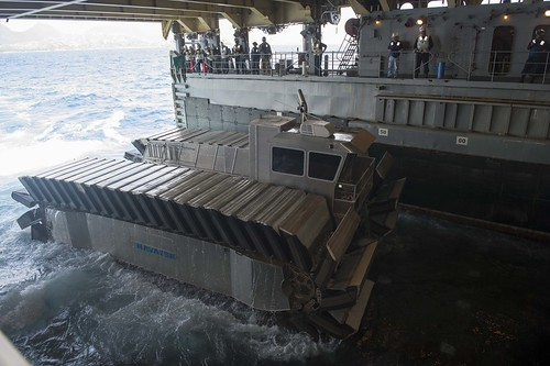 WAIMANALO, Hawaii (July 11, 2014) -  The Marine Corps Warfighting Lab sponsored an Advanced Warfighting Experiment, featuring a half-scale Ultra Heavy-lift Amphibious Connector (UHAC) prototype at the Marine Corps Training Area Bellows.