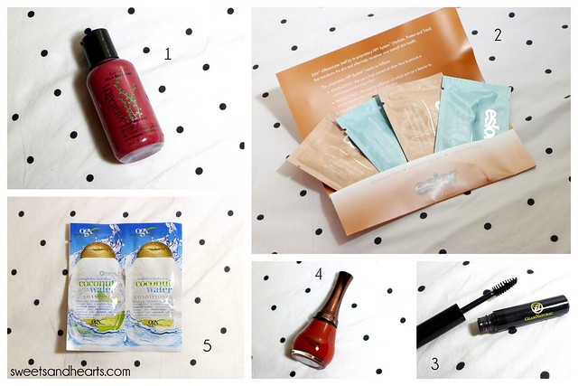 Beauty Box 5 Review & Swatches June Unboxing 2014, with Nicka K nail color, Organix coconut water shampoo & conditioner, Glam Natural mascara, Eslor calming face products, Vita Bath body wash
