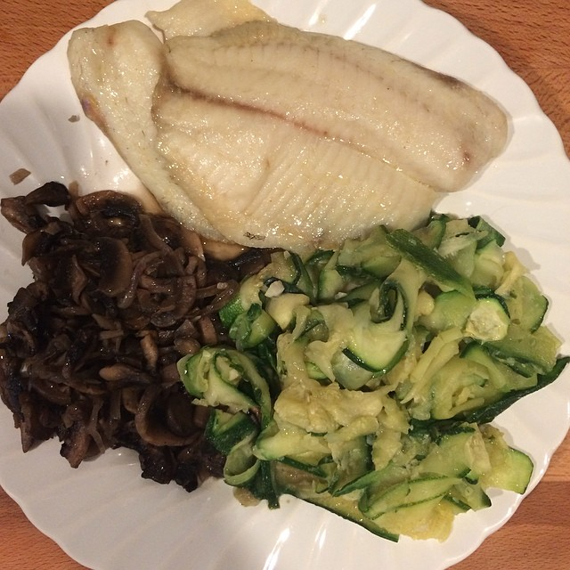 Day 11, #Whole30 - dinner (garlic butter baked tilapia, leftover sautéed mushrooms & onions, leftover zucchini ribbons)