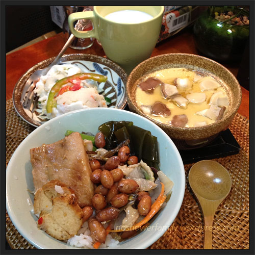 potato salad, steamed egg, miso fish rice,milk