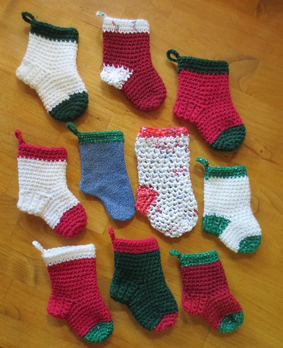 Crocheted Mini Christmas Socks