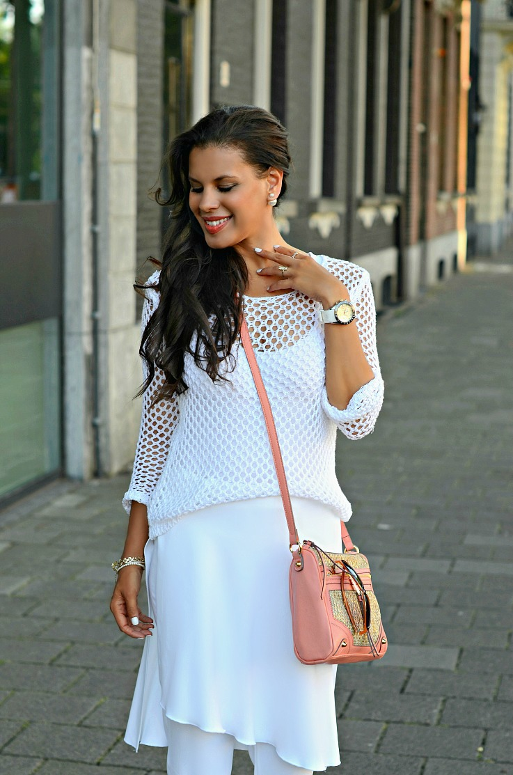 DSC_6175 Mise En Dior Earings, Zara skirt pants, Mesh white shirt, Jessica Simpson bag2