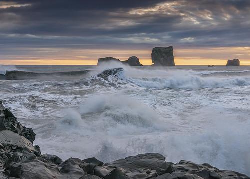 sunset sea seascape landscape iceland surf waves action tidal dyrholaey
