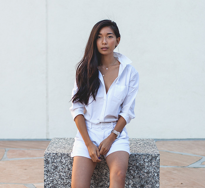 Stephanie Liu of Honey & Silk wearing Joe's Jeans at Noguchi Gardens