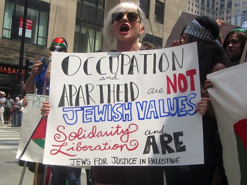Anti-Zionists rally near the Israeli consulate in Chicago