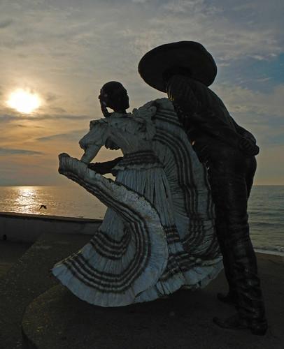 Sculpture of Traditional Mexican Dancers in Puerto Vallartas