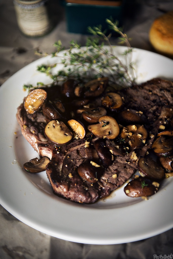 Grilled T-Bone Steaks with Thyme Mushrooms