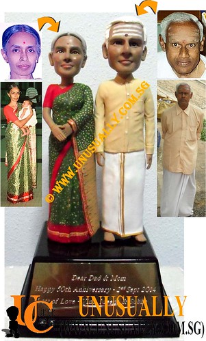 Unusually Creation Personalized 3D Lovely Indian Couple 50 Anniversary Figurines - @www.unusually.com.sg