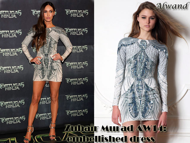 Zuhair-Murad-AW14-embellished-dress, cocktail dress , Zuhair Murad Aw14 embellished dress, Zuhair Murad Aw14 collection,  embellished dress, long sleeved dress, silver strappy heels, Teenage mutant ninja