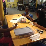 Asherri, Dashawn, and Ronica making their own books