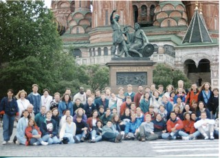 Group photo in front of the Kremlin