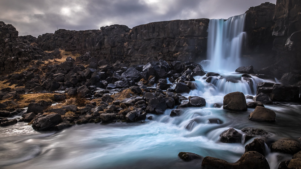 Oxararfoss waterfall, Thingvellir, Iceland picture