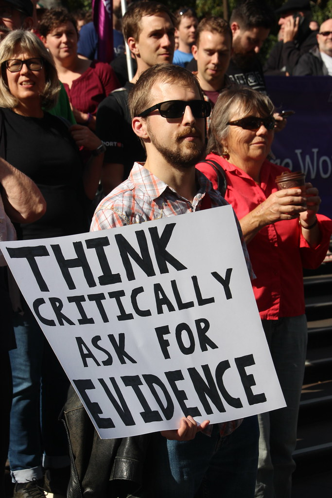 Think critically, ask for evidence - Melbourne #MarchforScience on #Earthday