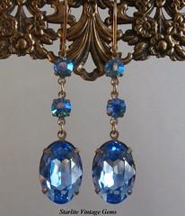 Vintage Swarovski Crystal Earrings ~ Bridesmaids Earrings Jewelry ~ Wedding Bridal Brides Bridesmaids Earrings Jewelry ~ Sapphire Blue Crystal Earrings