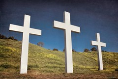 Three wooden crosses....