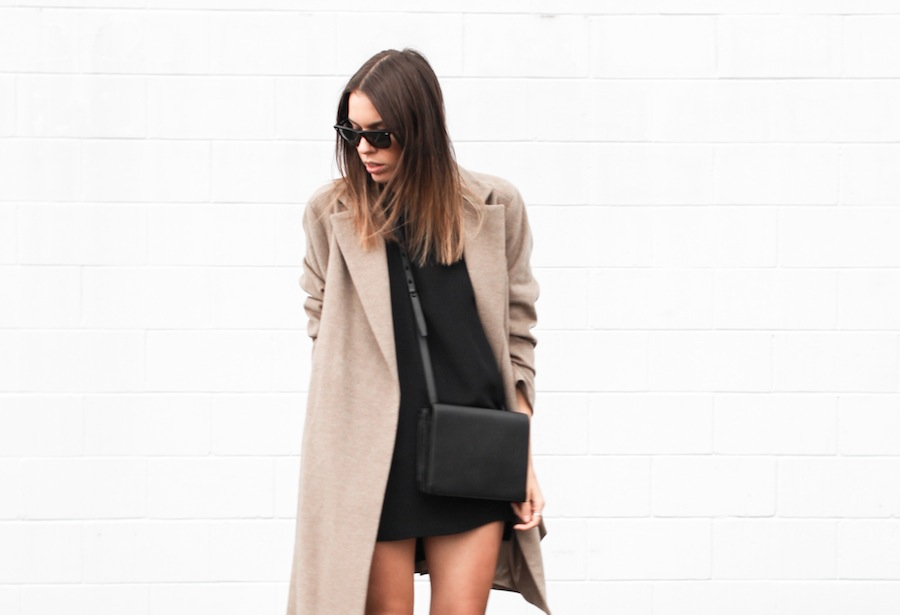 modern legacy blog camel long coat robe wool Zara slide sandals pool Alexander Wang Prisma Envelope cross body bag silk shift dress Nicholas black outfit street style blogger Australia (1 of 8)
