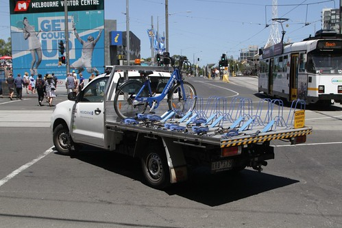 Melbourne Bike Share ute transferring bikes between stations