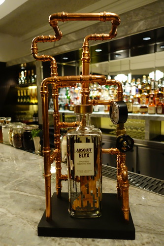 A miniature version of the manually-operated copper still used to distill Absolut Elyx Vodka.