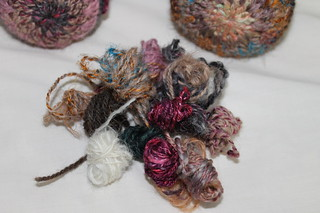 Handspun scraps for owl and easter bunny