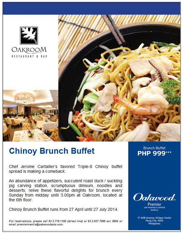 Chinoy Brunch Buffet at Oakroom