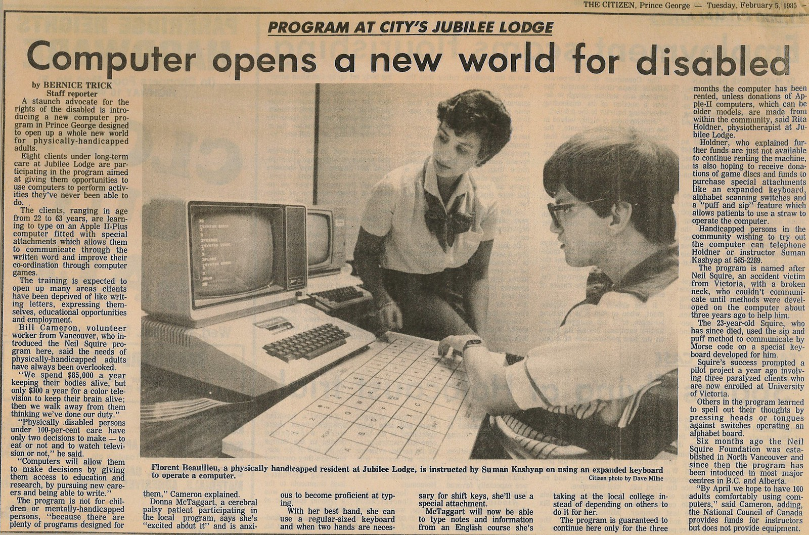 Newspaper clipping from Prince George Citizen, 1985.  Headline: Computers Open New World.