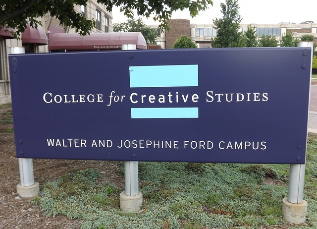 Sign: College for Creative Studies, Walter and Josephine Ford Campus--Detroit MI