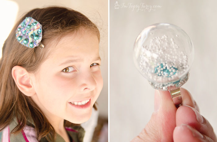 frozen-birthday-party-hair-clips-snow-globes-ring