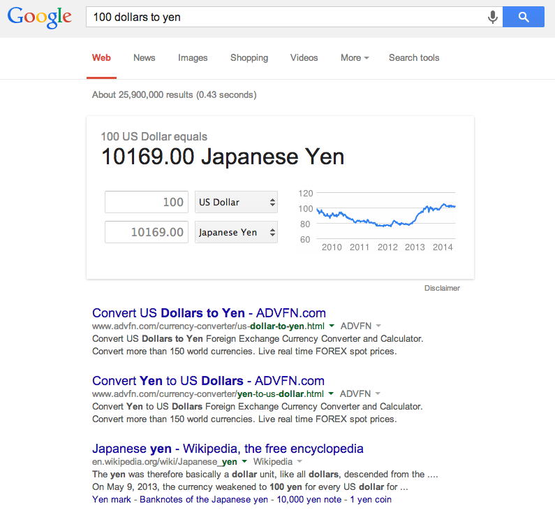 Google Search - Convert Currency